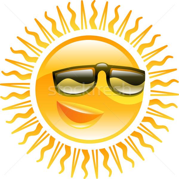 Smiling sun with sunglasses illustration Stock photo © Krisdog