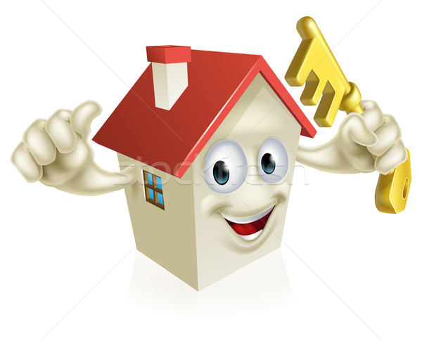 Cartoon House Holding Key Stock photo © Krisdog