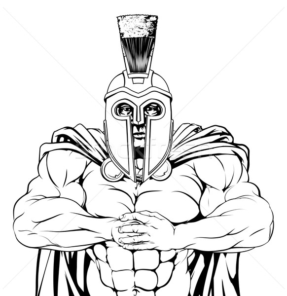 Taai spartaans gespierd trojaans mascotte karakter Stockfoto © Krisdog