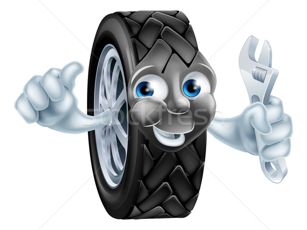 Desenho animado pneu mascote chave inglesa mecânico garagem Foto stock © Krisdog