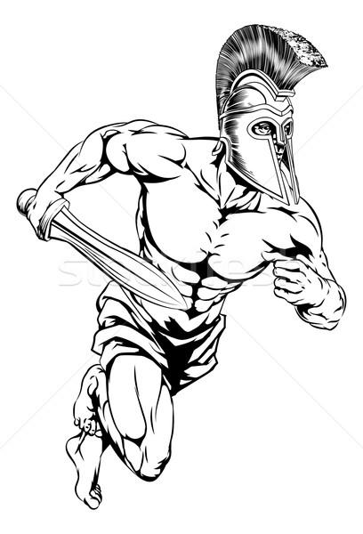 Gladiator personnage illustration guerrier sport mascotte Photo stock © Krisdog