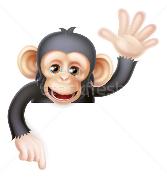 Waving Monkey Sign Stock photo © Krisdog
