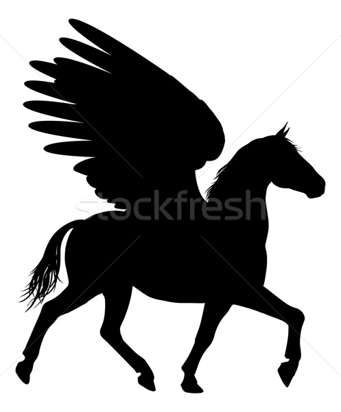 Silhouette Pegasus Stock photo © Krisdog