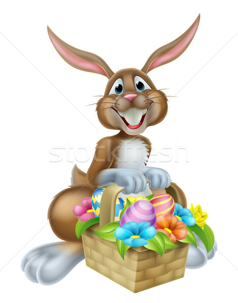 Bunny Rabbit with Basket of Easter Eggs Stock photo © Krisdog
