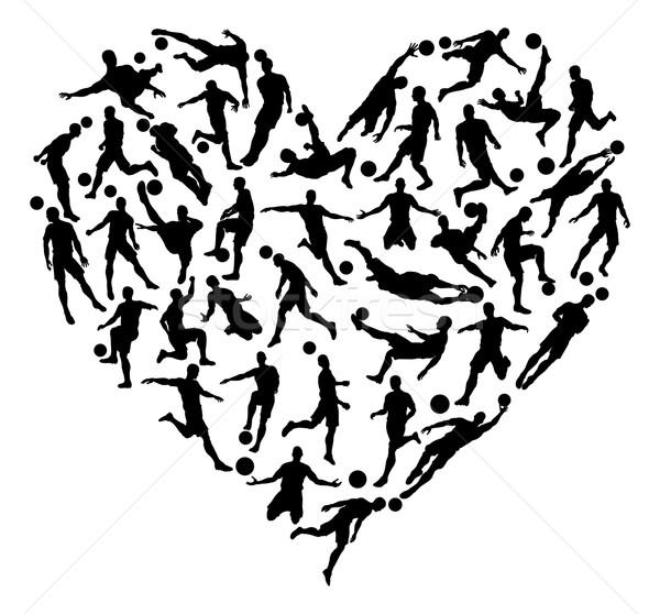 Soccer Football Silhouettes Heart Stock photo © Krisdog