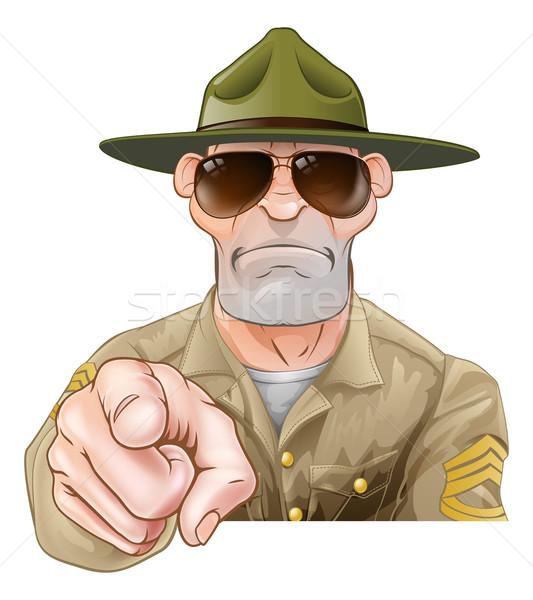 сердиться указывая дрель сержант глядя Cartoon Сток-фото © Krisdog