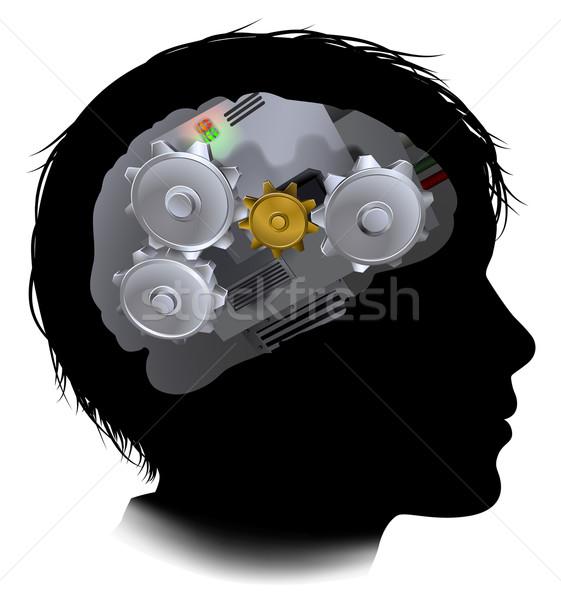 Máquina engrenagens engrenagens cérebro criança silhueta Foto stock © Krisdog