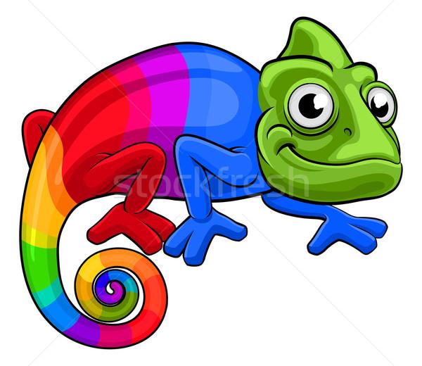 Chameleon cartoon tęczy maskotka wielobarwny jaszczurka Zdjęcia stock © Krisdog