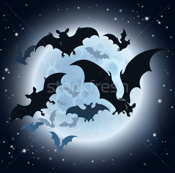 Luna piena halloween vampiro cielo sfondo nero Foto d'archivio © Krisdog