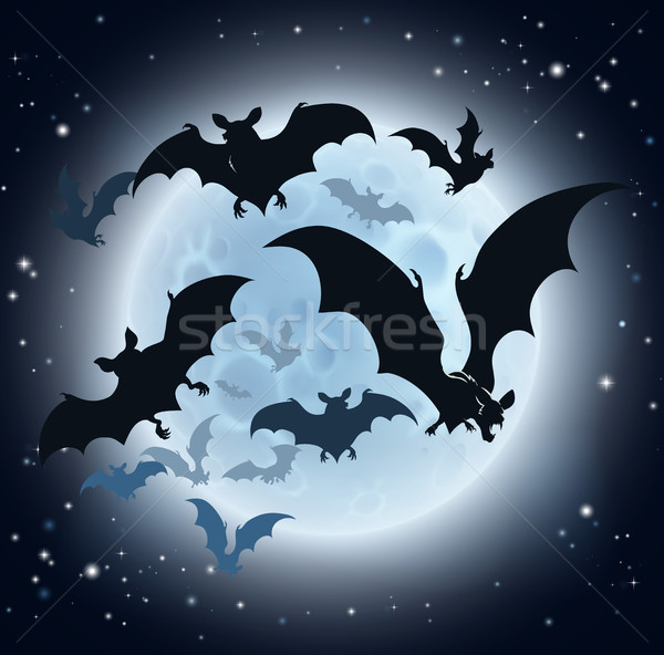 Bats and Full Moon Halloween Background Stock photo © Krisdog