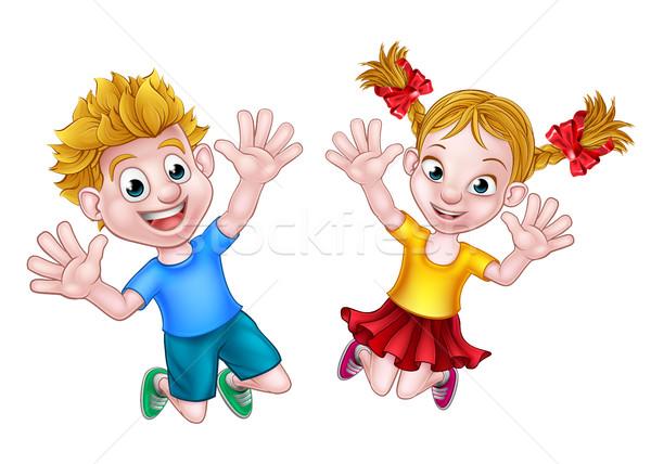Boy and Girl Jumping Cartoon Stock photo © Krisdog