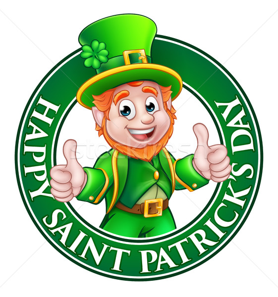 Cartoon Leprechaun St Patricks Day Sign Stock photo © Krisdog
