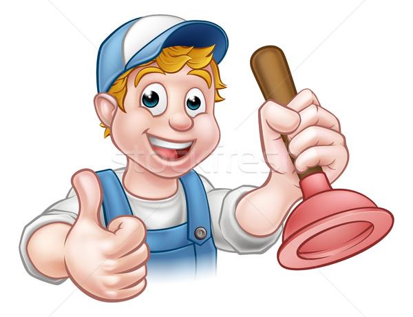 Cartoon Handyman Plumber Holding Plunger Stock photo © Krisdog