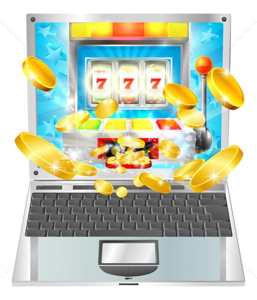 Játékautomata laptop számítógép illusztráció terv laptop kaszinó Stock fotó © Krisdog