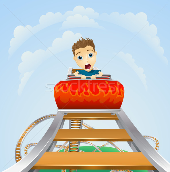 Scary ride on rollercoaster Stock photo © Krisdog