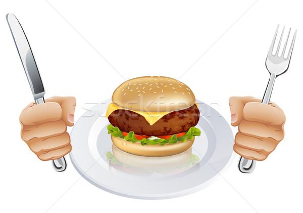 Hambriento Burger placa manos cuchillo Foto stock © Krisdog