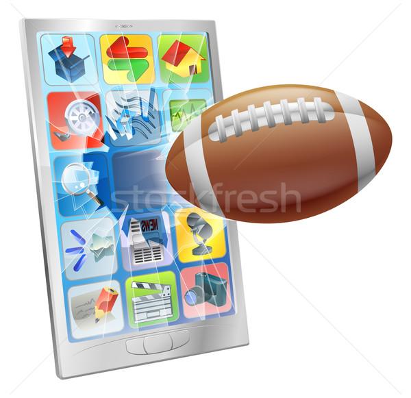 Amerikai futball labda mobiltelefon illusztráció repülés Stock fotó © Krisdog