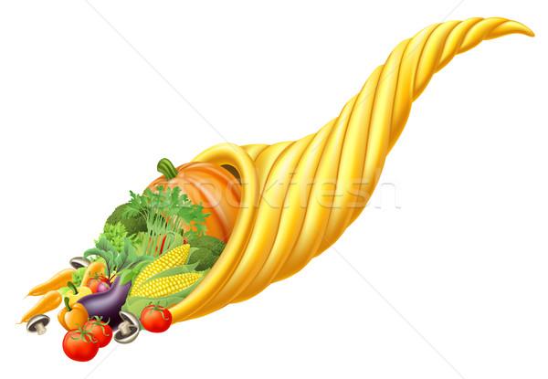 Cornucópia chifre completo comida ilustração Foto stock © Krisdog