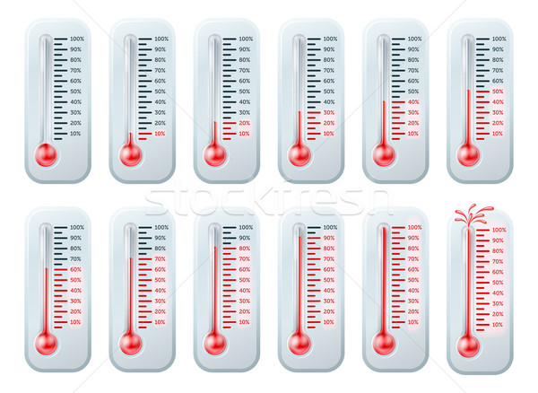 Temperature rising thermometers Stock photo © Krisdog