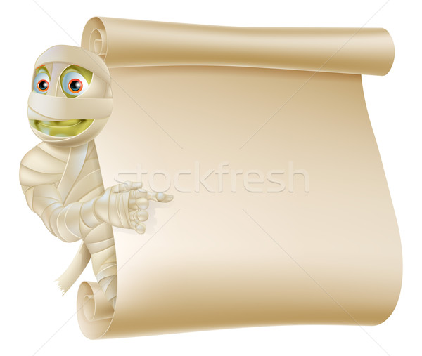 Mummy Halloween Monster Scroll Sign Stock photo © Krisdog