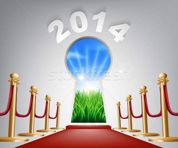 New Year Door Keyhole 2014 Stock photo © Krisdog