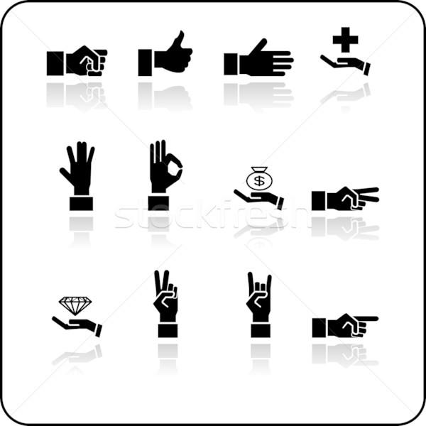 Stock photo: hands icon set
