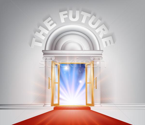 Futuro tappeto rosso porta fantastico bianco marmo Foto d'archivio © Krisdog