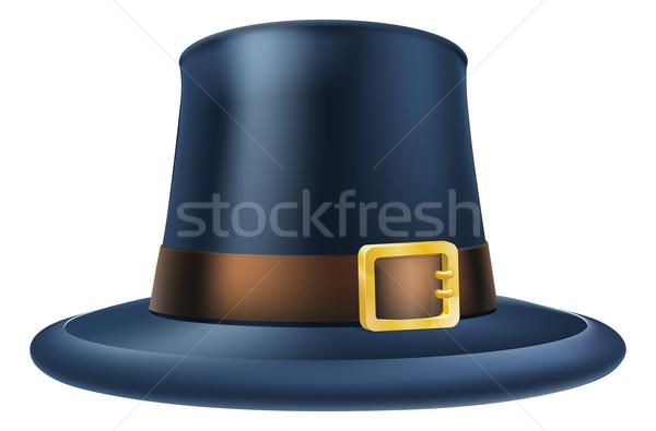 Hálaadás zarándok kalap illusztráció háttér fekete Stock fotó © Krisdog