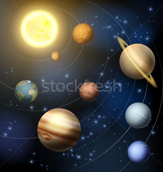 Planetas sistema solar em torno de sol ilustração céu Foto stock © Krisdog