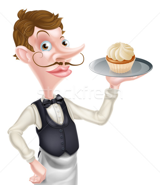 Rajz minitorta pincér illusztráció pék tart Stock fotó © Krisdog