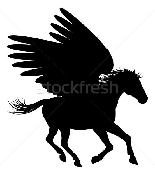 Running Pegasus Silhouette Stock photo © Krisdog