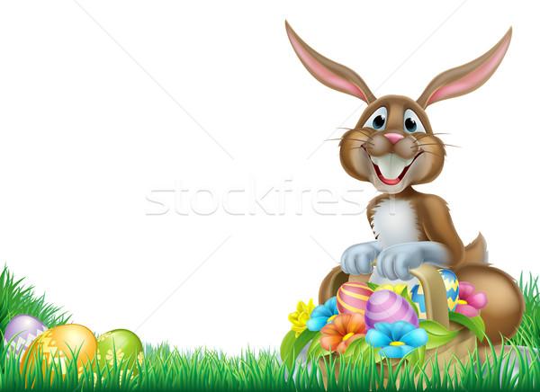 漫画 イースターエッグハント ウサギ イースターバニー バスケット フル ストックフォト © Krisdog