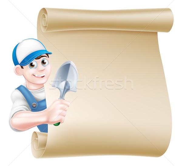 Cartoon Gardener Scroll Man Stock photo © Krisdog