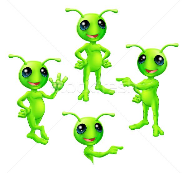 Cartoon Green Alien Set Stock photo © Krisdog