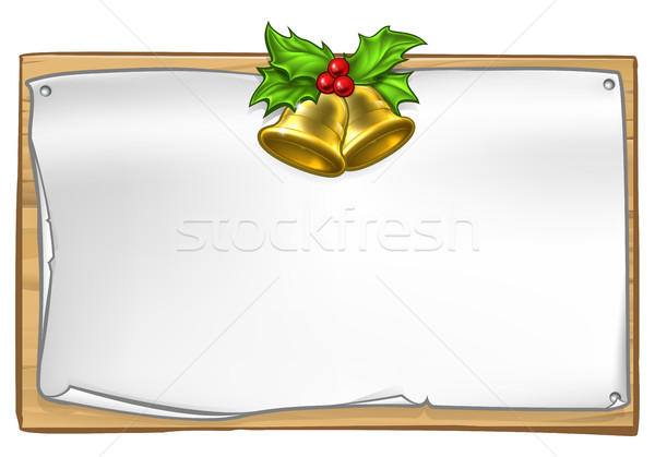 Stock photo: Christmas Wooden Scroll Sign