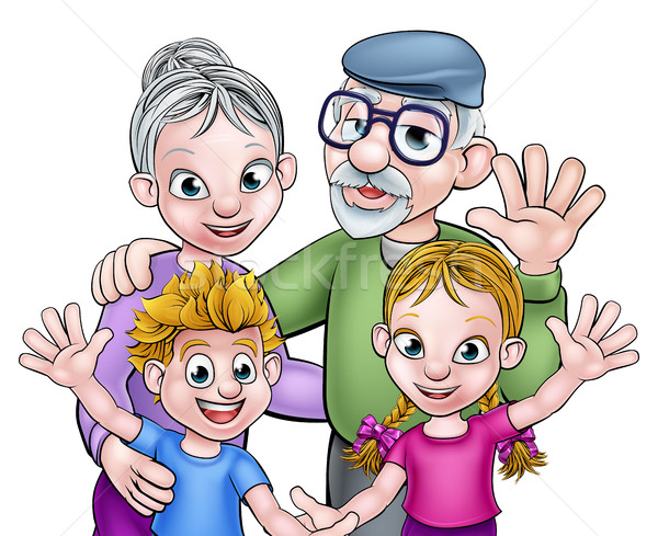 Cartoon nonni bambini ragazzi ragazzo ragazza Foto d'archivio © Krisdog