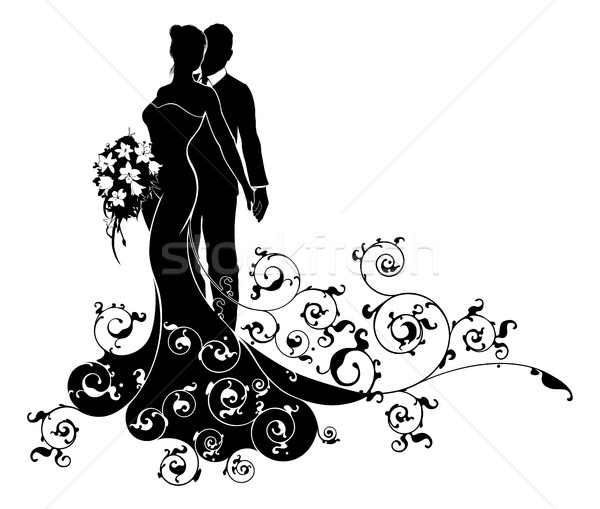 Bride and Groom Wedding Pattern Dress Silhouette Stock photo © Krisdog