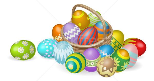 Festett húsvéti tojások kosár illusztráció színes fonott Stock fotó © Krisdog