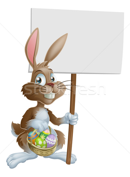 Easter bunny rabbit holding sign Stock photo © Krisdog