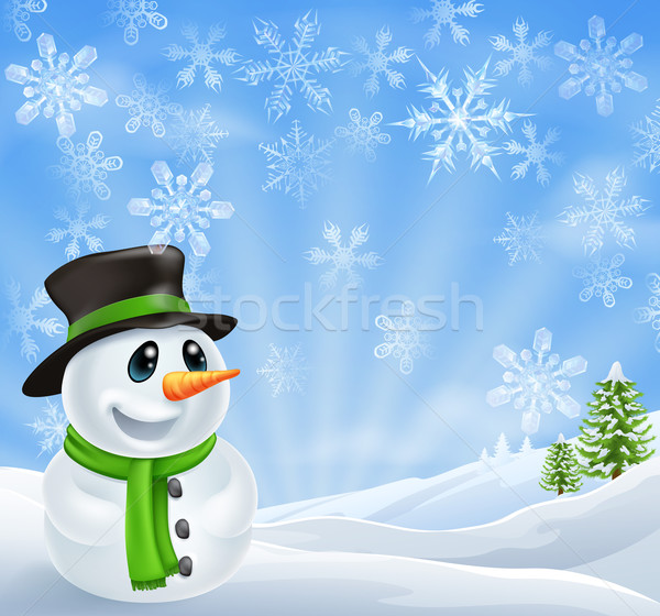 Christmas Snowman Scene Stock photo © Krisdog