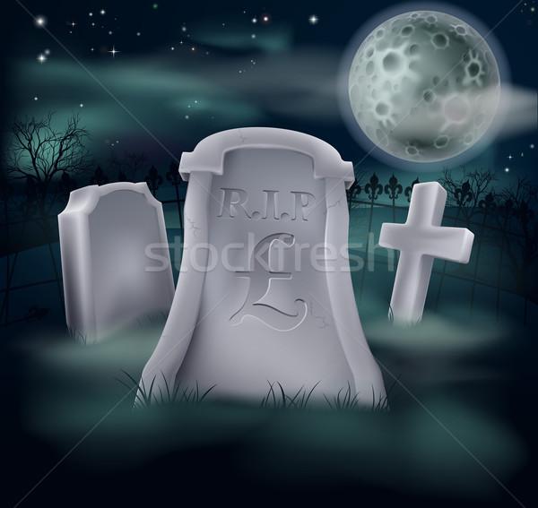 Pound mezar mezarlık imzalamak ekonomi finansal Stok fotoğraf © Krisdog
