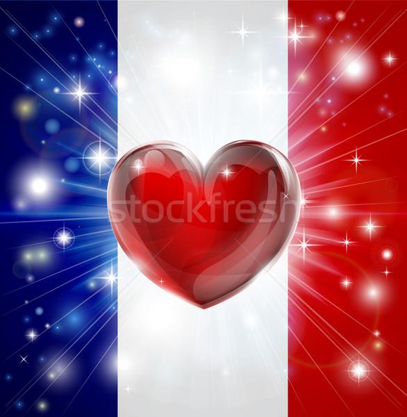 Love France flag heart background Stock photo © Krisdog