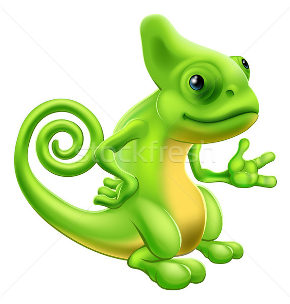Desenho animado camaleão ilustração lagarto em pé Foto stock © Krisdog