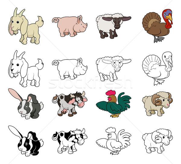 漫画 家畜 イラスト セット 色 黒白 ストックフォト © Krisdog