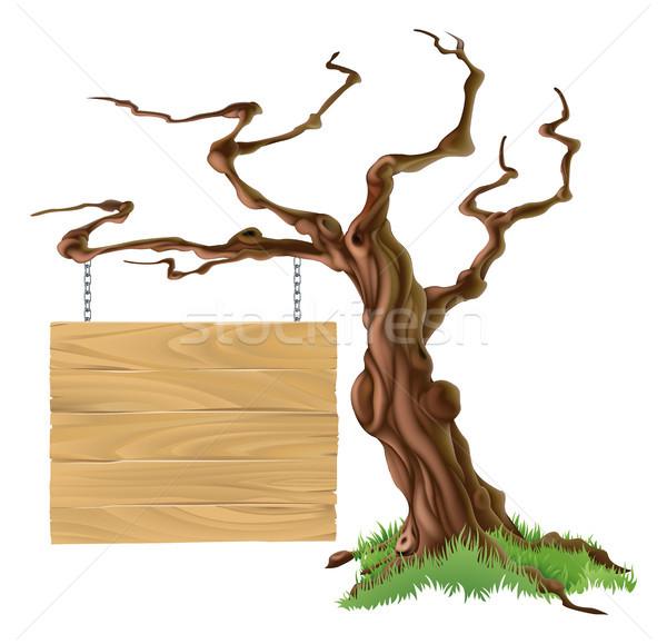 Sign Tree Illustration Stock photo © Krisdog