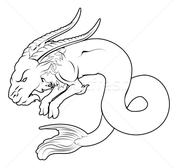 Stylised sea goat illustration Stock photo © Krisdog