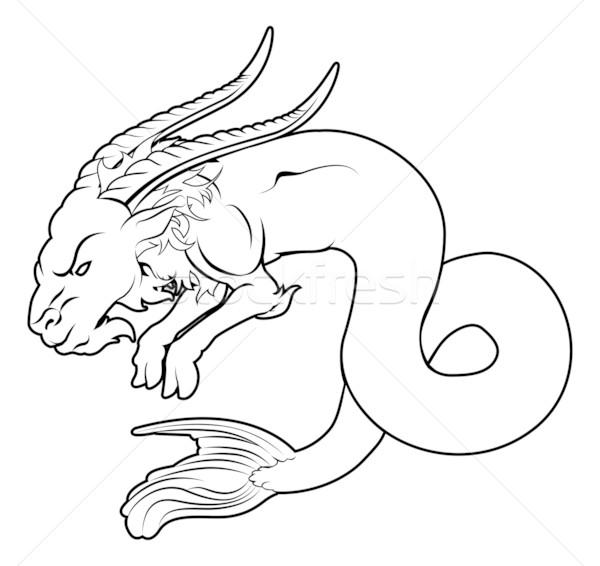Mar cabra ilustração preto tatuagem peixe Foto stock © Krisdog