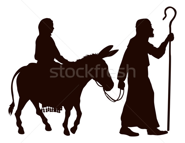 Mary and Joseph silhouettes Stock photo © Krisdog