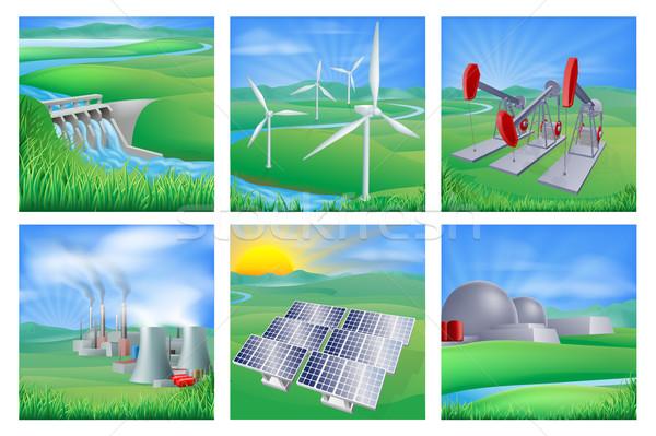 Pouvoir énergie illustrations différent génération vent Photo stock © Krisdog