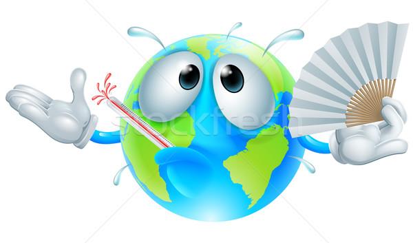 Opwarming van de aarde hot wereldbol karakter koorts Stockfoto © Krisdog